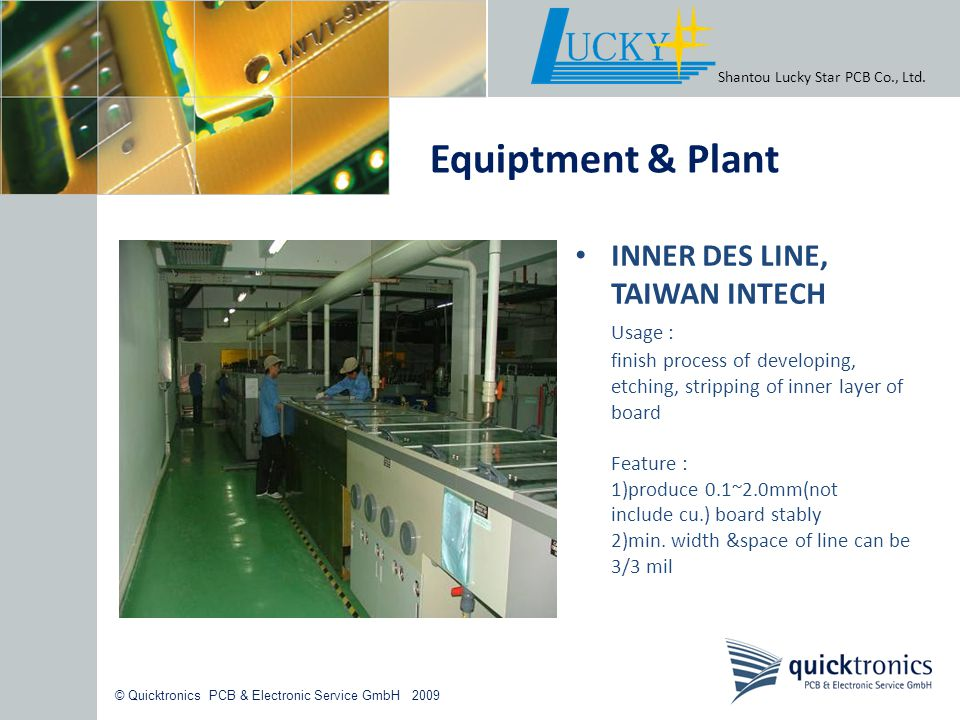 Equiptment & Plant INNER DES LINE, TAIWAN INTECH Usage :