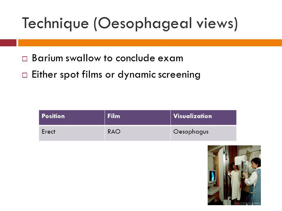 Technique (Oesophageal views)