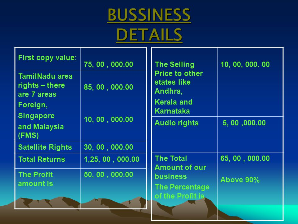 BUSSINESS DETAILS First copy value: 75, 00 , 000.00