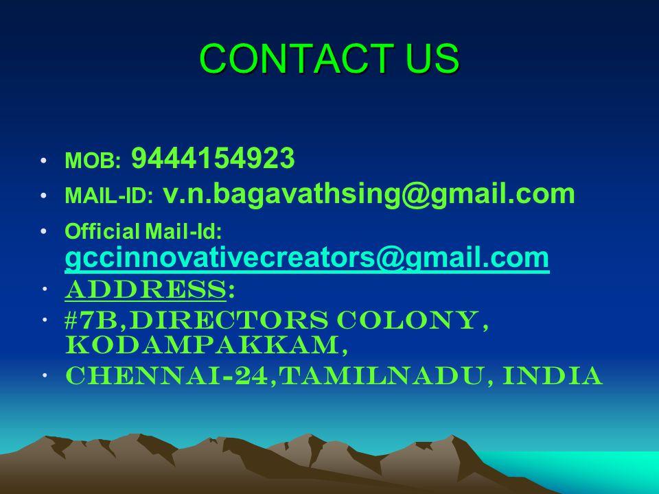 CONTACT US Address: #7B,Directors colony, Kodampakkam,