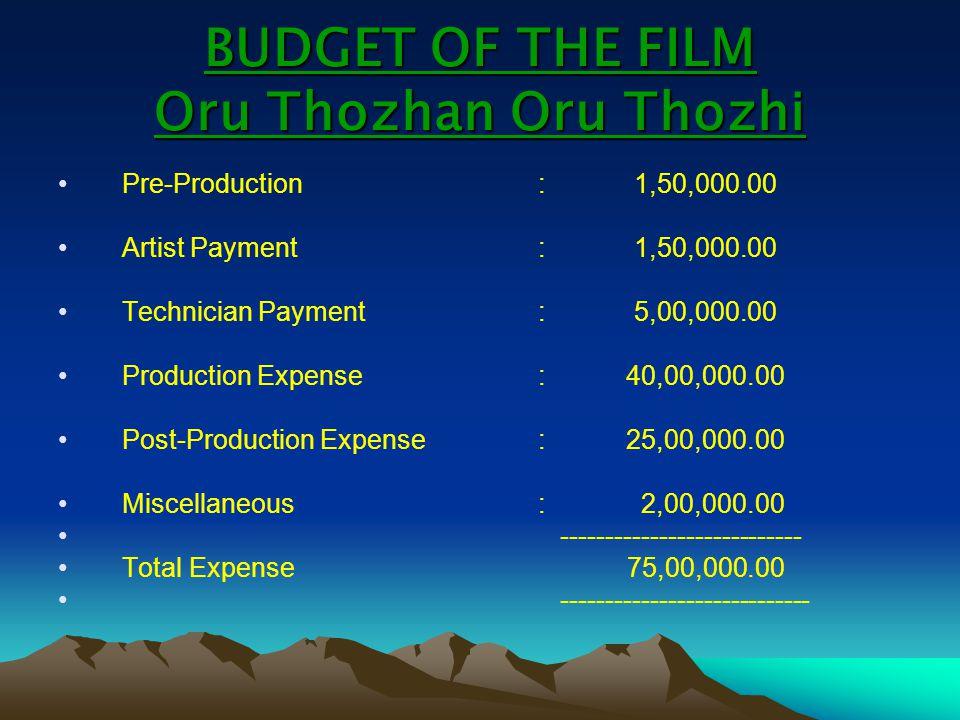 BUDGET OF THE FILM Oru Thozhan Oru Thozhi