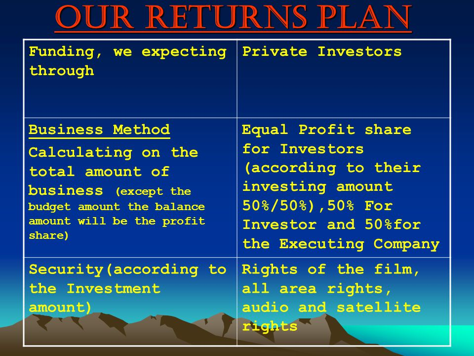 OUR RETURNS PLAN Funding, we expecting through Private Investors