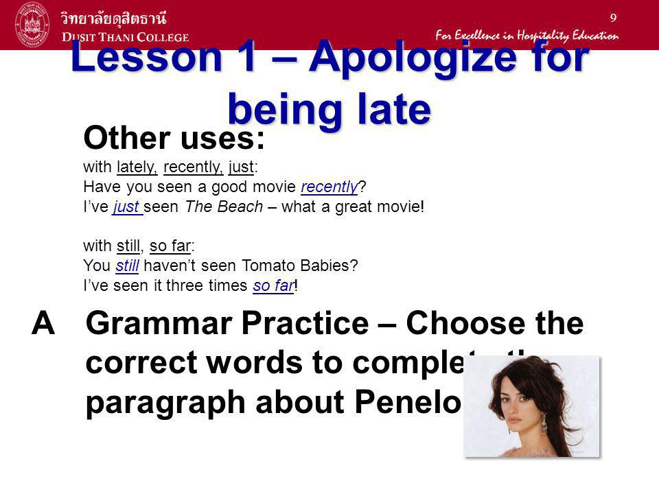 Lesson 1 – Apologize for being late
