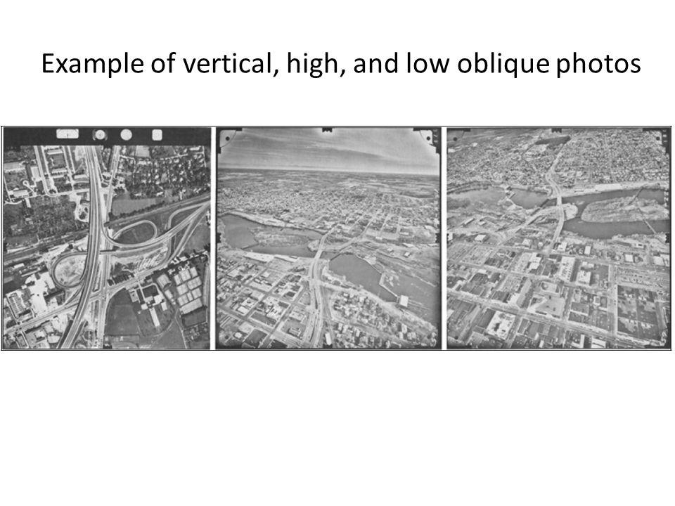 Example of vertical, high, and low oblique photos