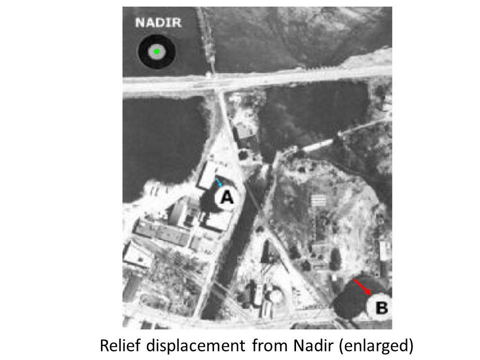 Relief displacement from Nadir (enlarged)