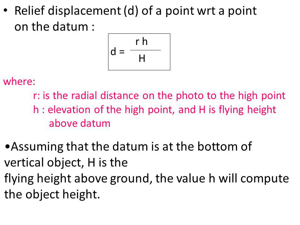Relief displacement (d) of a point wrt a point on the datum :
