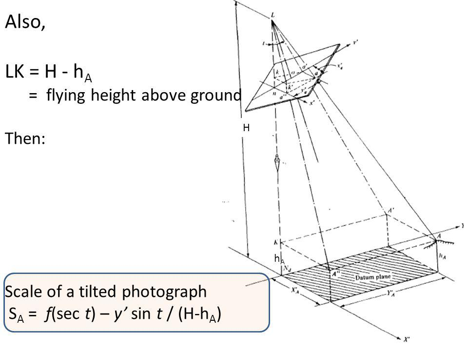Also, LK = H - hA Then: Scale of a tilted photograph
