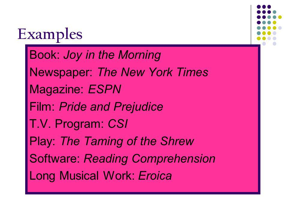 Examples Book: Joy in the Morning Newspaper: The New York Times