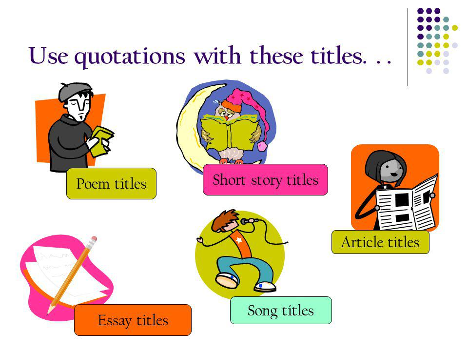 rules of titles in essays Overview this guide explains how to format your documents in microsoft word so that they follow the standard rules for formatting academic papers as described in most mla and apa style books for undergraduate writing.