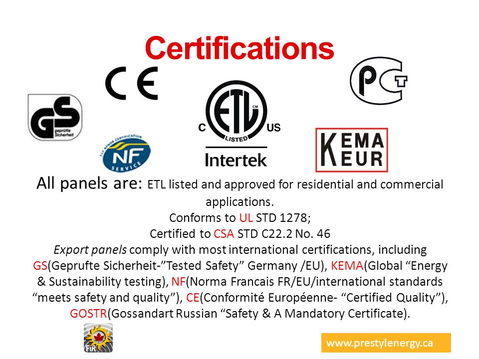 Certified to CSA STD C22.2 No. 46