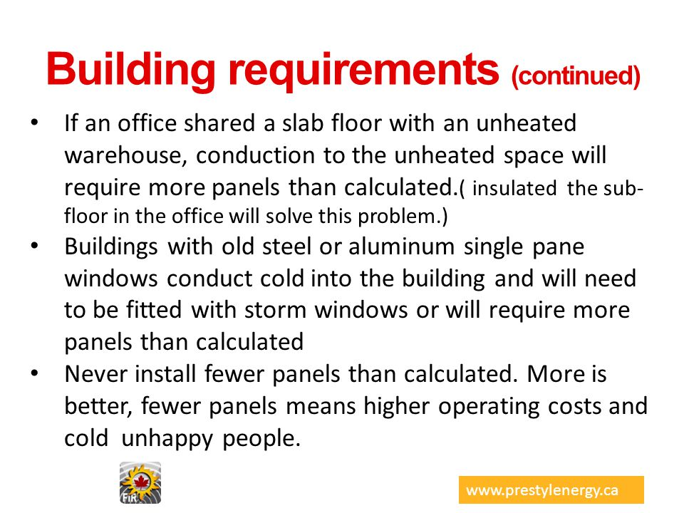 Building requirements (continued)