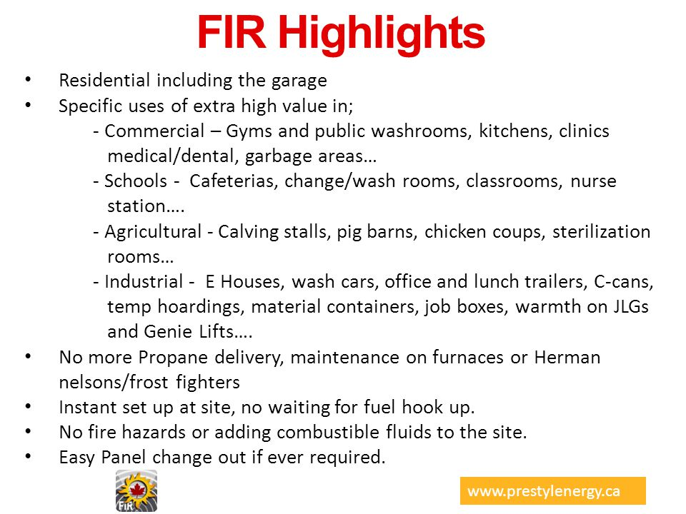 FIR Highlights Residential including the garage