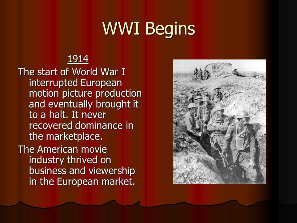 WWI Begins 1914.