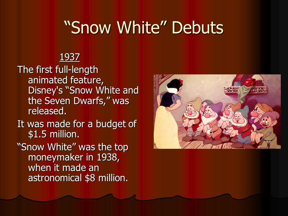 Snow White Debuts 1937. The first full-length animated feature, Disney s Snow White and the Seven Dwarfs, was released.