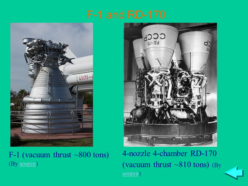 F-1 (vacuum thrust ~800 tons) (By source)