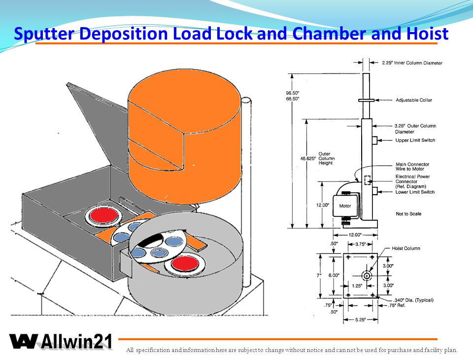 Sputter Deposition Load Lock and Chamber and Hoist