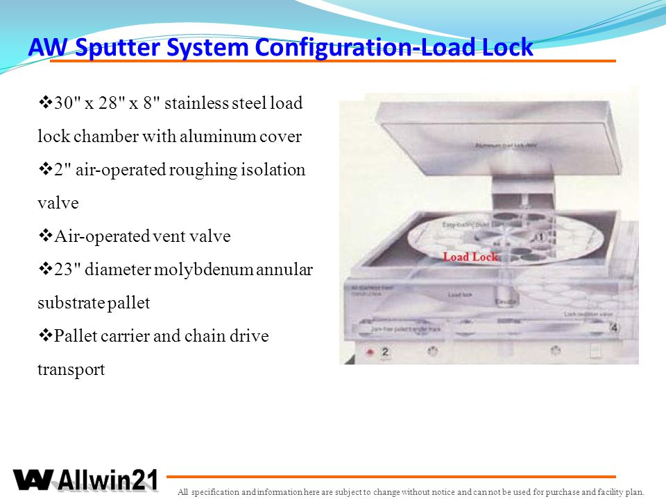 AW Sputter System Configuration-Load Lock