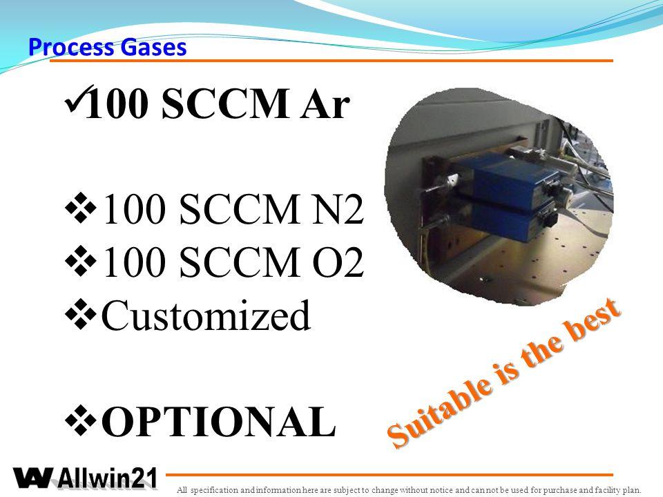 100 SCCM Ar 100 SCCM N2 100 SCCM O2 Customized OPTIONAL