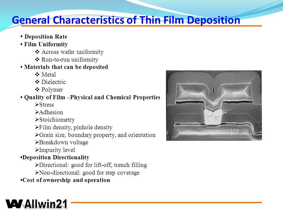 General Characteristics of Thin Film Deposition