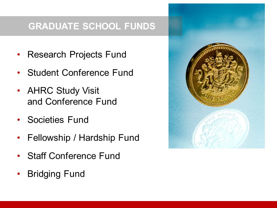 GRADUATE SCHOOL FUNDS Research Projects Fund. Student Conference Fund. AHRC Study Visit and Conference Fund.
