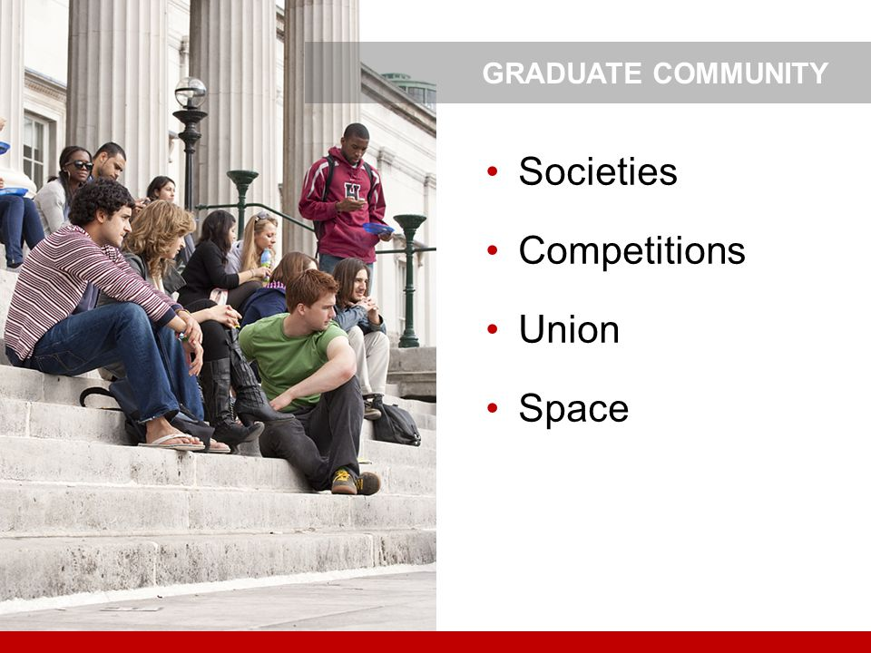 GRADUATE COMMUNITY Societies Competitions Union Space