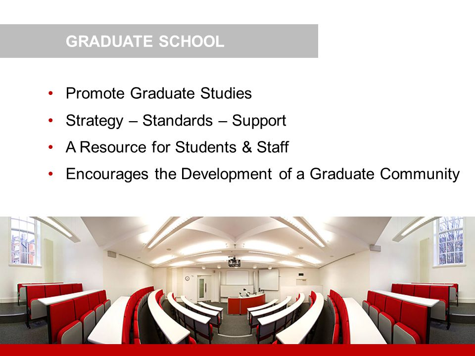 GRADUATE SCHOOL Promote Graduate Studies. Strategy – Standards – Support. A Resource for Students & Staff.