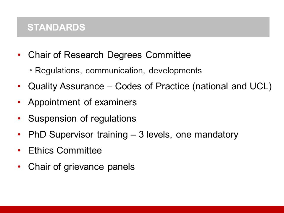 Chair of Research Degrees Committee