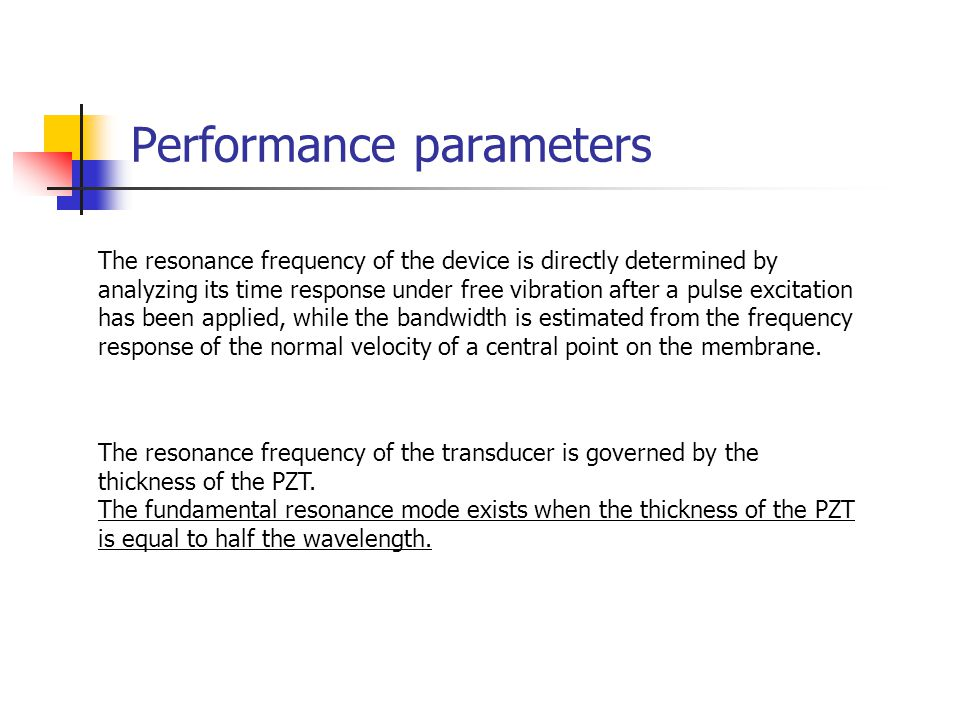 Performance parameters