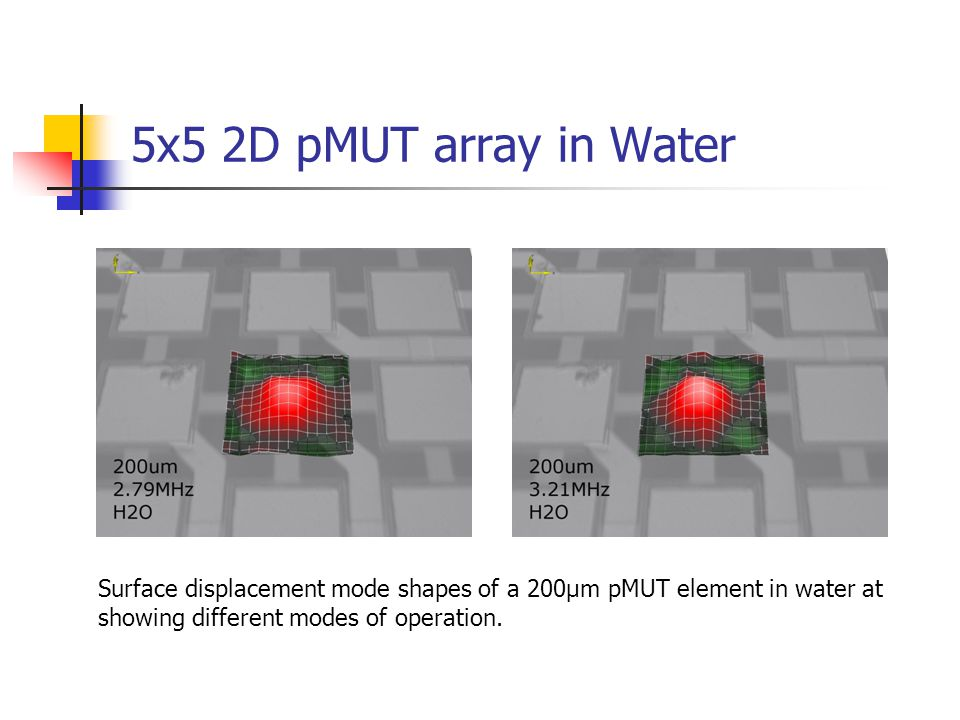 5x5 2D pMUT array in Water Surface displacement mode shapes of a 200μm pMUT element in water at.