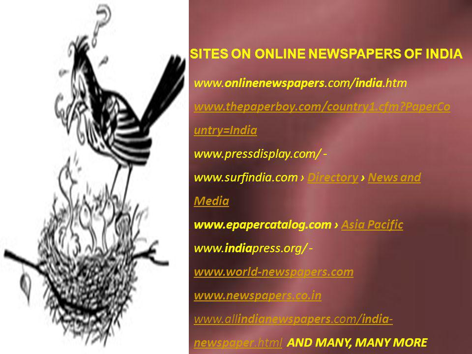 SITES ON ONLINE NEWSPAPERS OF INDIA