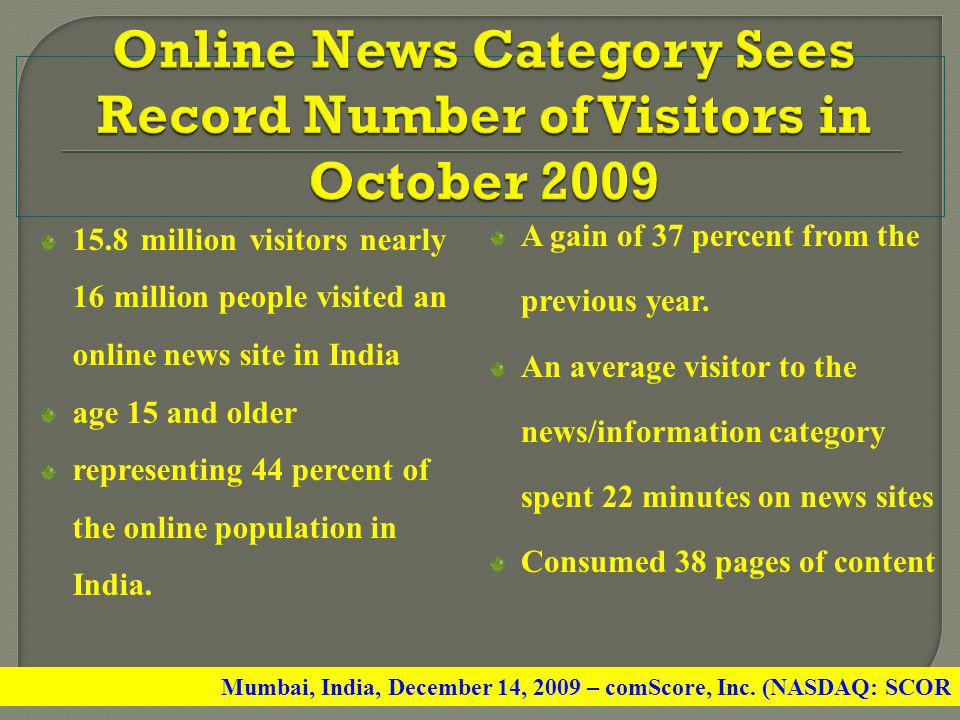 Online News Category Sees Record Number of Visitors in October 2009