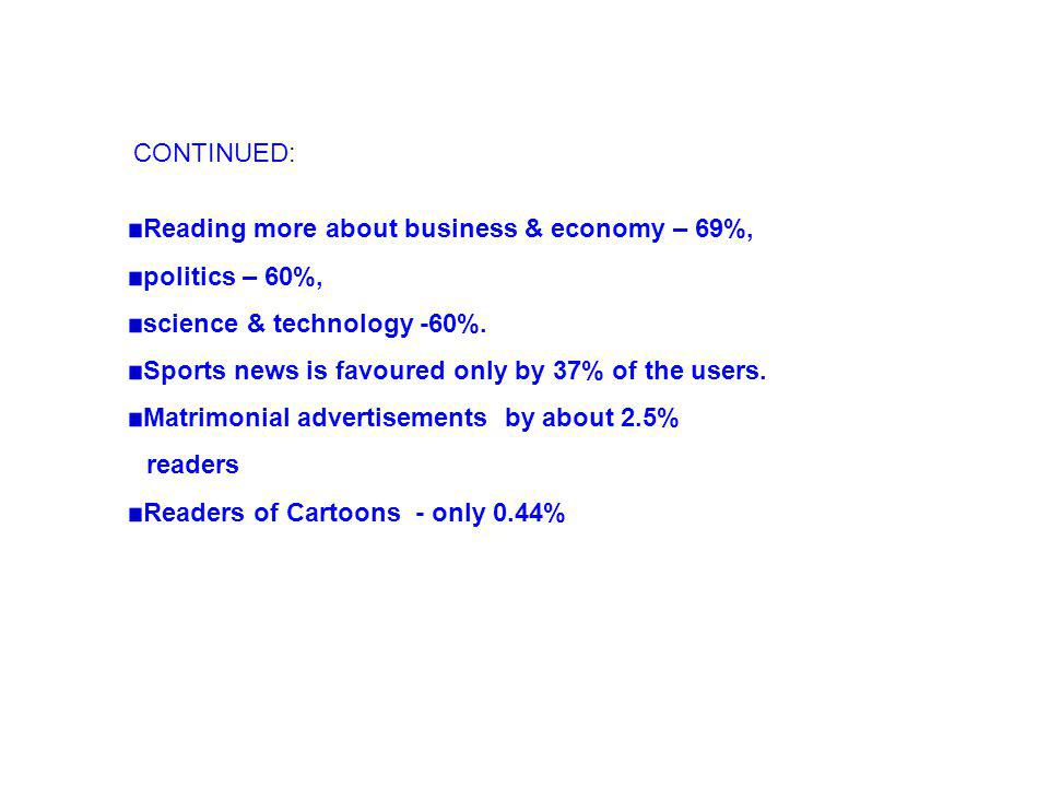CONTINUED: Reading more about business & economy – 69%, politics – 60%, science & technology -60%.