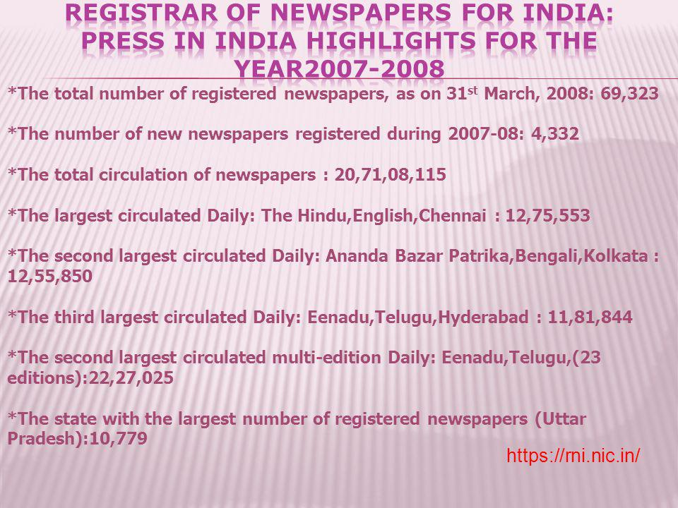 REGISTRAR OF NEWSPAPERS FOR INDIA: PRESS IN INDIA HIGHLIGHTS FOR THE YEAR2007-2008