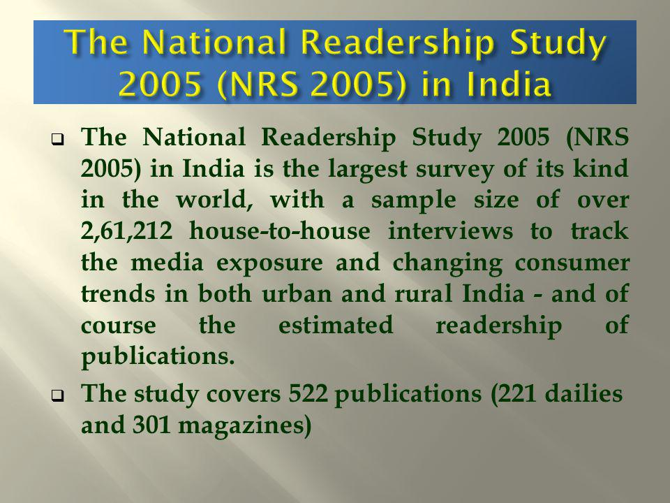 The National Readership Study 2005 (NRS 2005) in India