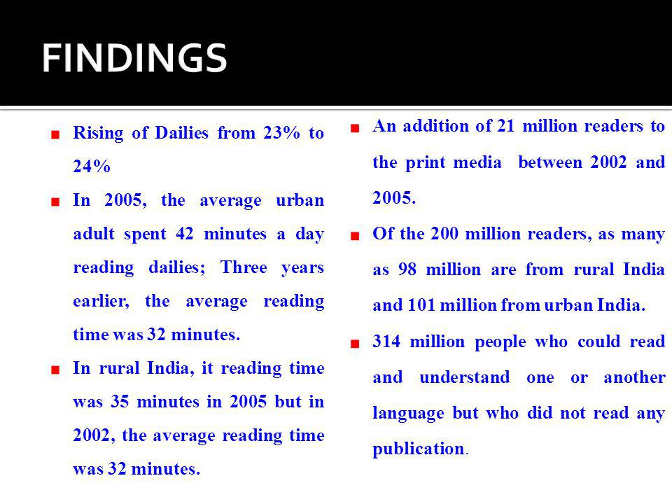 FINDINGS An addition of 21 million readers to the print media between 2002 and 2005.