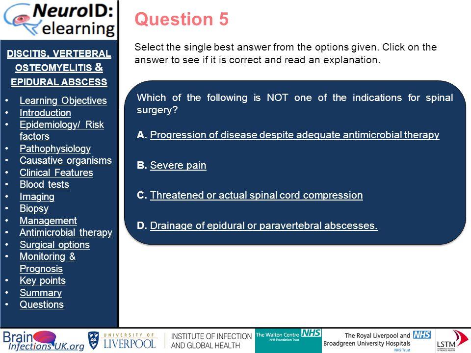 discitis, vertebral osteomyelitis & epidural abscess