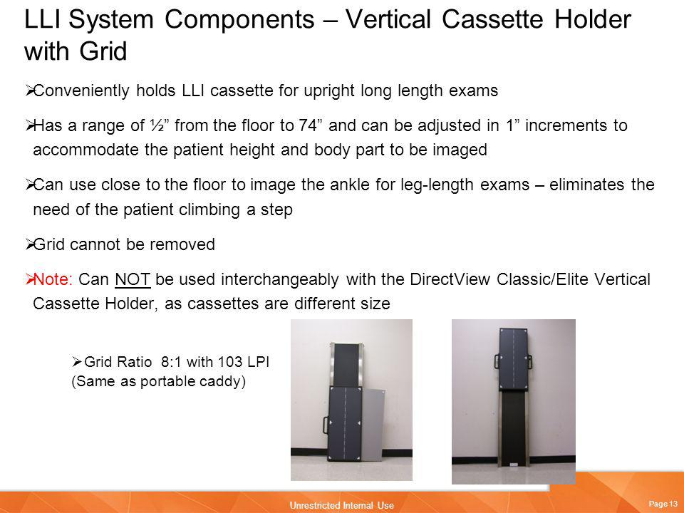 LLI System Components – Vertical Cassette Holder with Grid