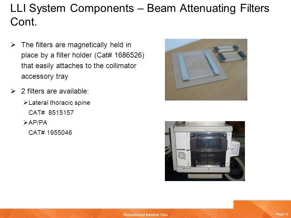 LLI System Components – Beam Attenuating Filters Cont.