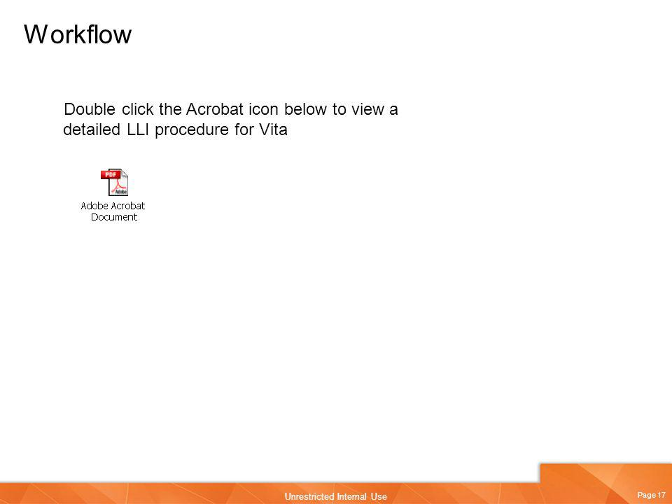 Workflow Double click the Acrobat icon below to view a detailed LLI procedure for Vita