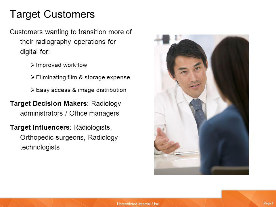Target Customers Customers wanting to transition more of their radiography operations for digital for: