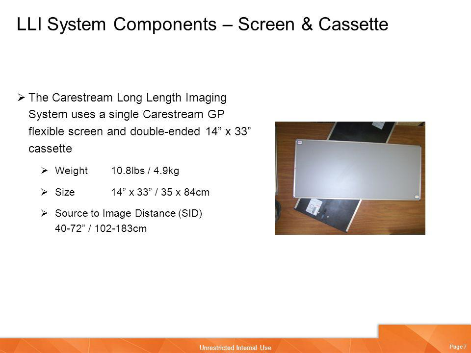LLI System Components – Screen & Cassette