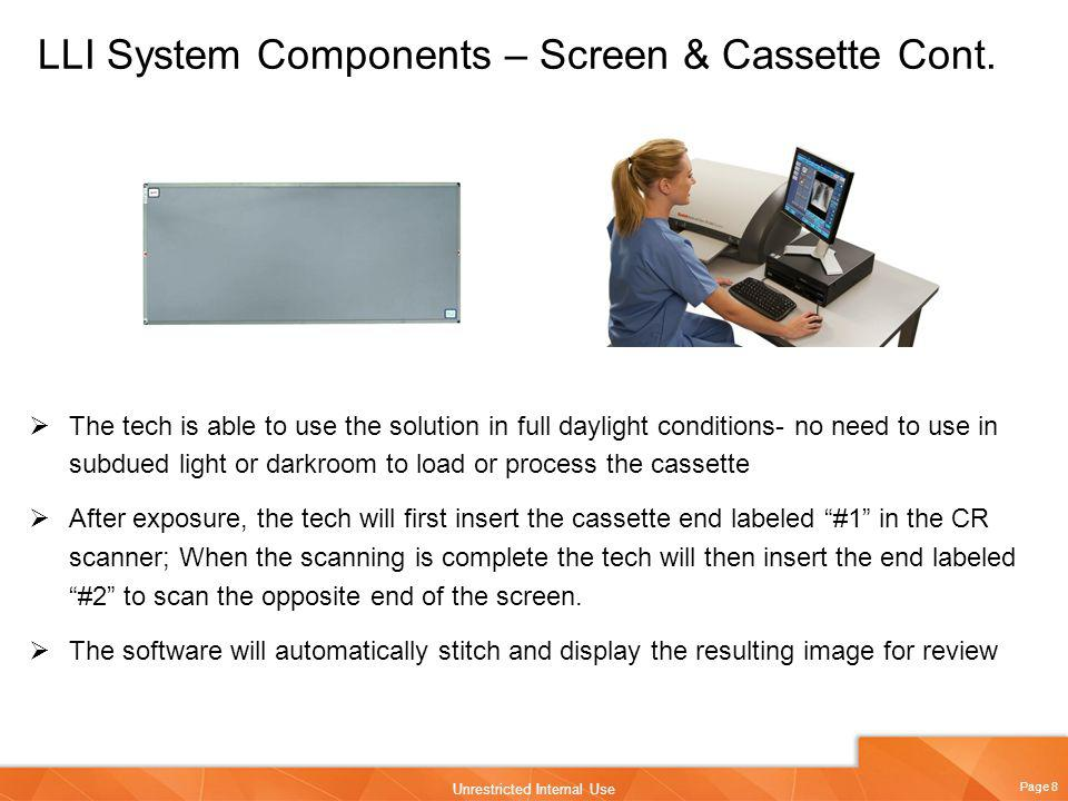 LLI System Components – Screen & Cassette Cont.