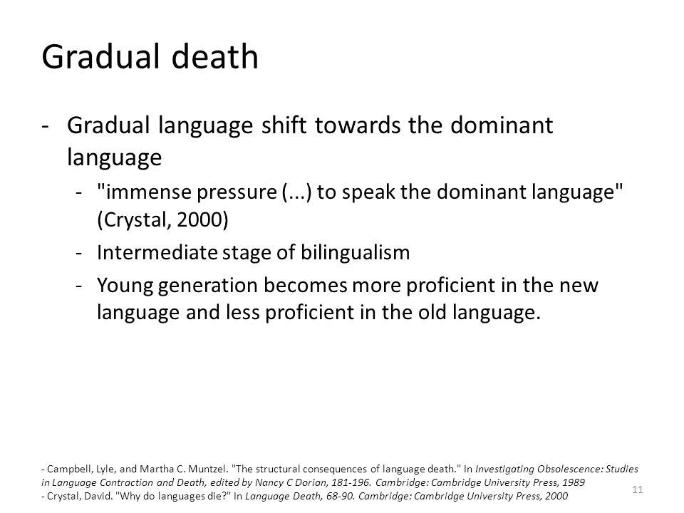 Gradual death Gradual language shift towards the dominant language