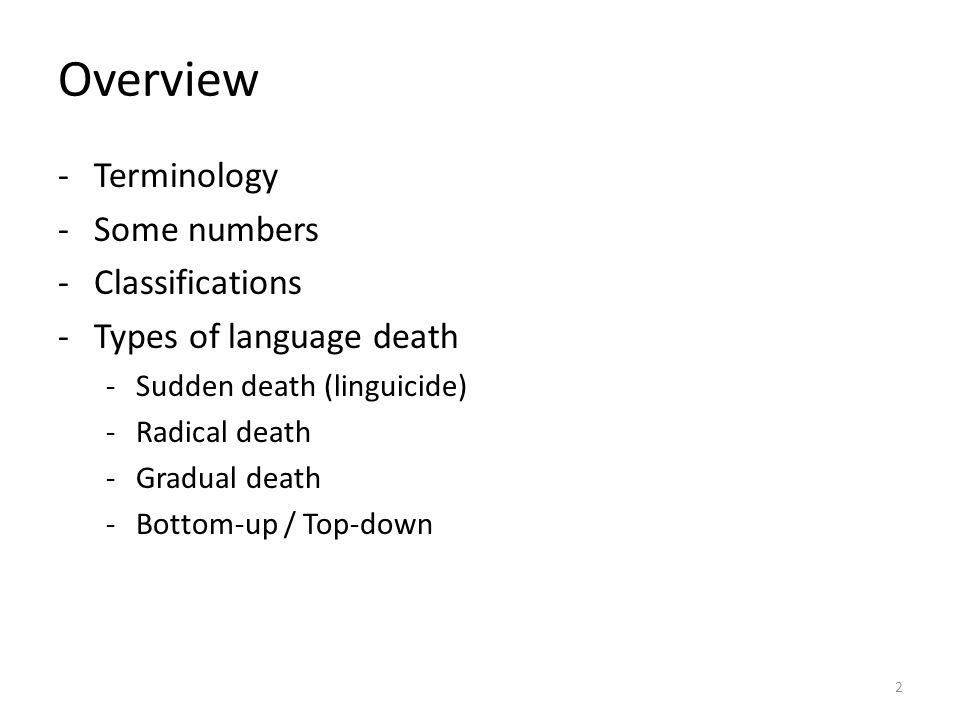Overview Terminology Some numbers Classifications