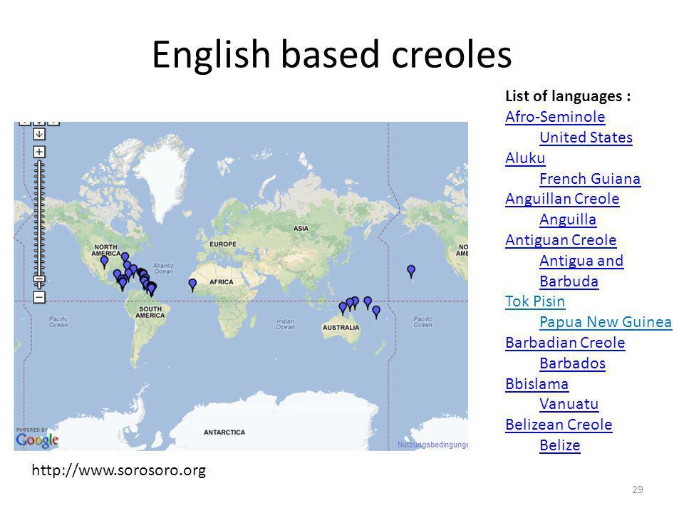 English based creoles List of languages : Afro-Seminole United States