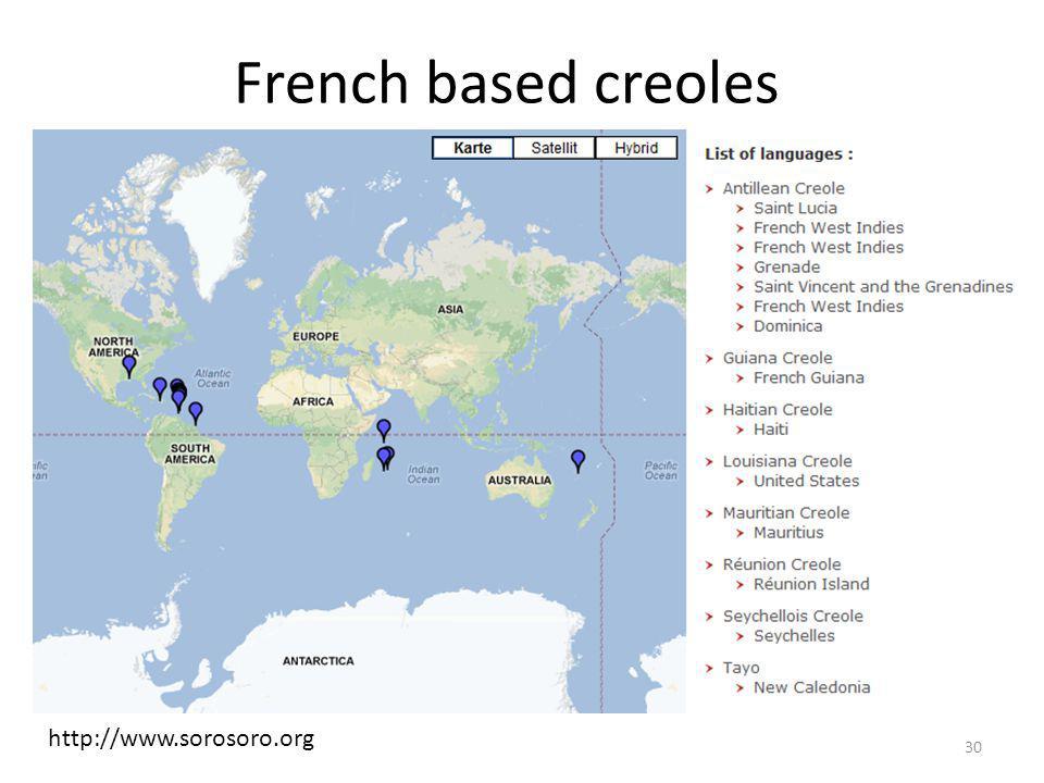 French based creoles http://www.sorosoro.org