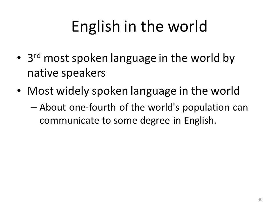 English in the world 3rd most spoken language in the world by native speakers. Most widely spoken language in the world.