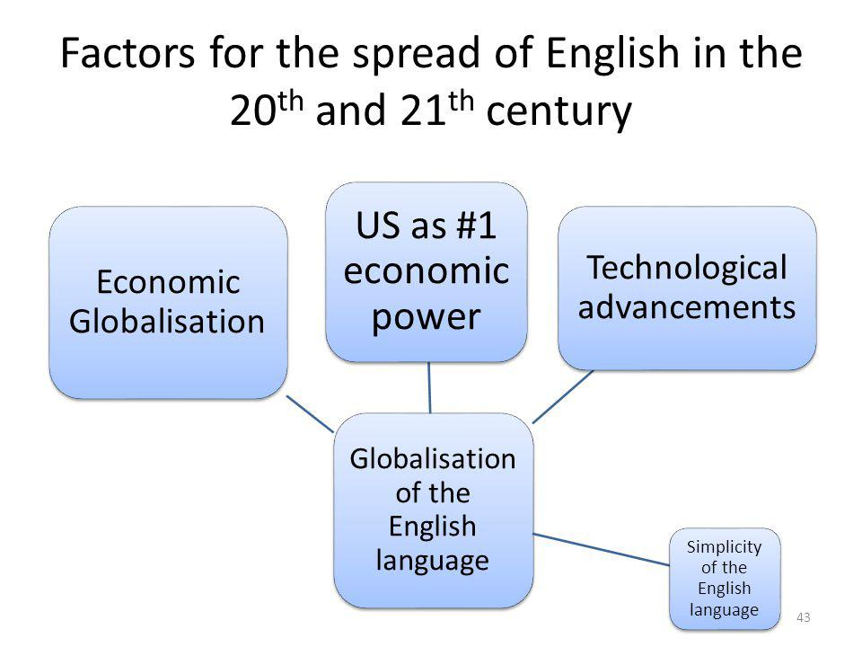 Factors for the spread of English in the 20th and 21th century