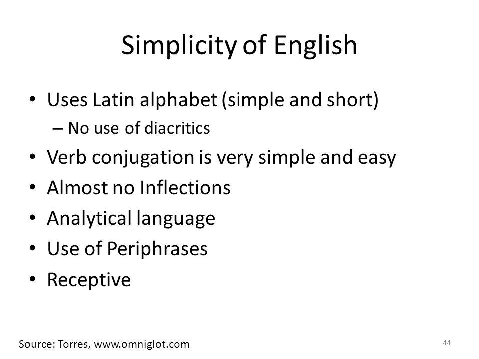 Simplicity of English Uses Latin alphabet (simple and short)