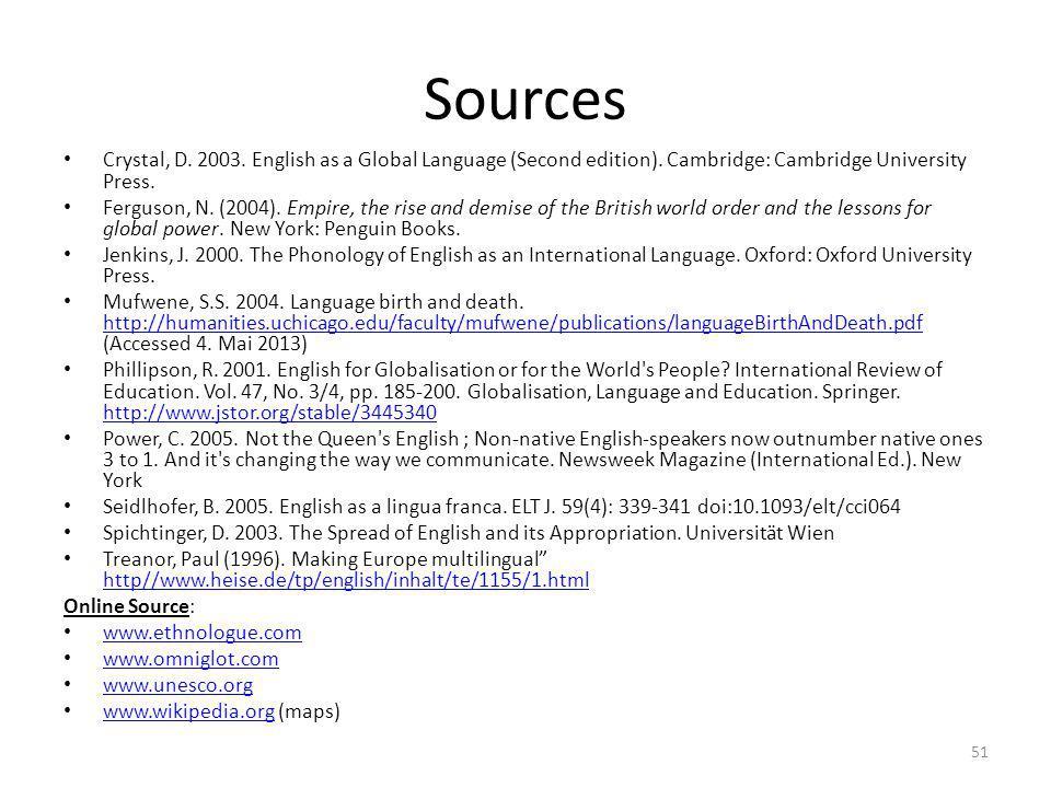 Sources Crystal, D. 2003. English as a Global Language (Second edition). Cambridge: Cambridge University Press.